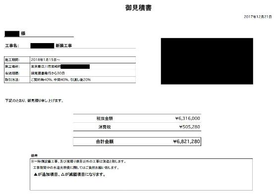 日本酒バル 見積書事例 2018年1月15日